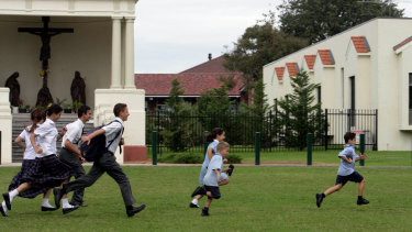 Children play at a Sydney Catholic school.