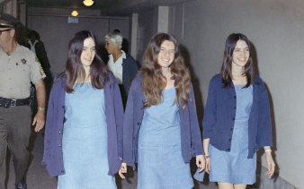 Charles Manson followers, from left: Susan Atkins, Patricia Krenwinkel and Leslie Van Houten, walk to court to appear for their roles in the 1969 cult killings of seven people, including pregnant actress Sharon Tate, in Los Angeles.