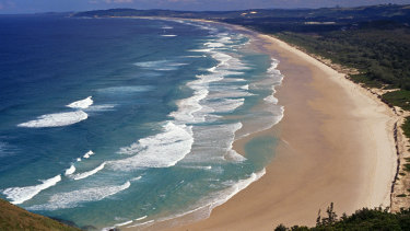 The long explanse of Tallow Beach is a popular tourist destination.