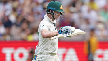 Steve Smith trudges off