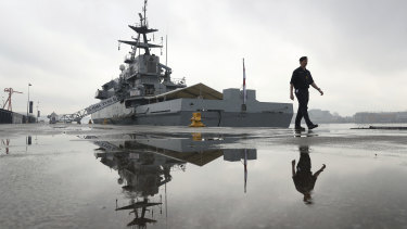 The HMS Tyne at berth in Tyneside, England, during a visit by Defence Secretary Gavin Williamson, who announced increased naval protection for Britain's fishing fleet after Brexit.