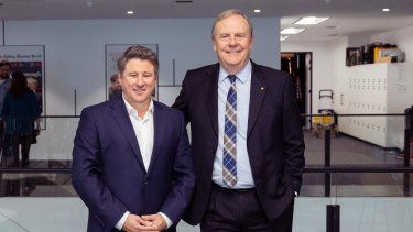 New Nine CEO Mike Sneesby and Nine Chairman Peter Costello