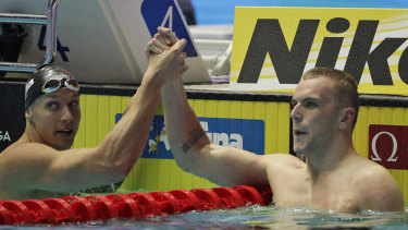 Caeleb Dressel and Kyle Chalmers after their epic 100m freestyle final in South Korea.