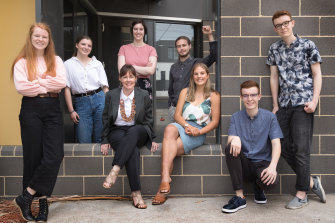 Sandringham College students and principal Amy Porter (third from left) broke a school record in this year's VCE.