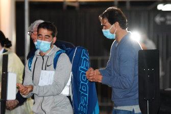 Rafael Nadal, right, arriving in Adelaide.