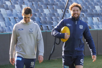 Jack Steven walked laps in his return to the club for the first time since suffering a stab wound to his chest.