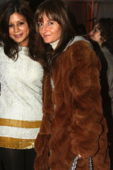 """Christine Centenera and Claudia Navone, wearing her """"woolly mammoth"""" mink in Sydney back in 2006."""