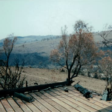 Nerreman after the 2003 bushfires. The house was saved but nothing else.
