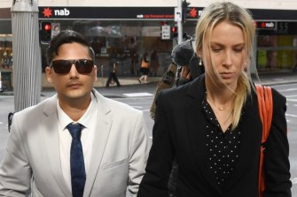 Blake Davis and Hannah Quinn, both charged with murder, arrive at the Downing Centre courts on Thursday.