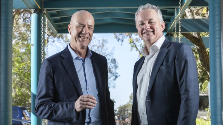 "In a note to staff, Fairfax CEO Greg Hywood (left), pictured here with Hugh Marks CEO Nine, said ""there will be plenty of Fairfax Media DNA in the merged company and the board""."