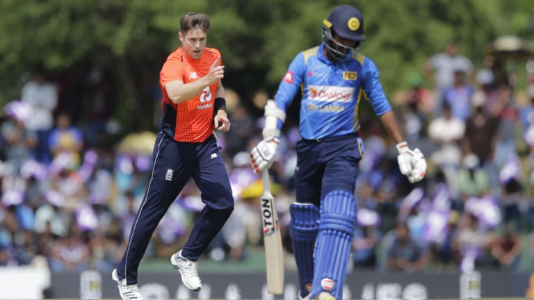 Got him: England's Chris Woakes celebrates the dismissal of Sri Lanka's Upul Tharanga.