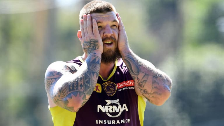 Josh McGuire Broncos training session in Brisbane on Monday.