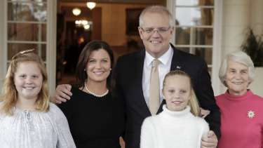 The Morrison family, including his mother Marion, at Government House in May.
