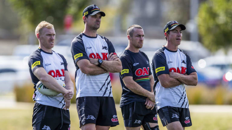 Brains trust: Cameron Ciraldo, second from left, with Peter Wallace, James Maloney and Penrith great Greg Alexander.