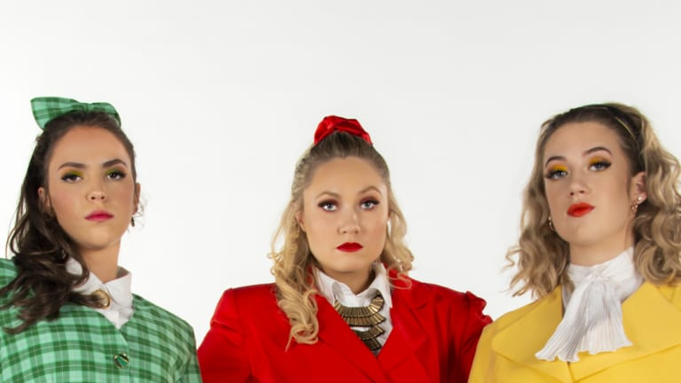 From left, Madeleine Betts (Heather Duke), Charlotte Gearside (Heather Chandler), Mikayla Brady (Heather McNamara) in <i>Heathers the Musical</i>.
