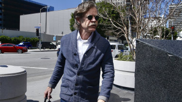 Actor William H. Macy arrives at a federal court in Los Angeles after his wife Felicity Huffman's arrest.
