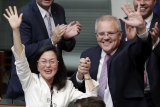 """Liberal MP Gladys Liu and Prime Minister Scott Morrison after her maiden speech, in which she declared, """"How good is Australia?"""""""