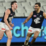 Walsh heroics keep Carlton flame flickering in comeback win over Magpies