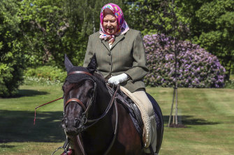 Queen Elizabeth II rides Balmoral Fern, a 14-year-old Fell Pony, in Windsor Home Park.