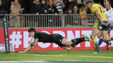 Record: Beauden Barrett is the first All Black to score four tries in a Test against Australia