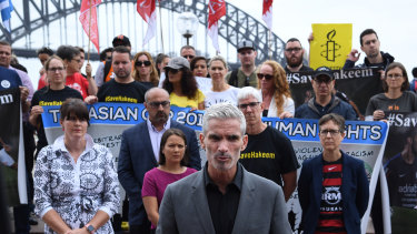 Former footballer and SBS presenter Craig Foster at a rally in Sydney for Hakeem al-Araibi.
