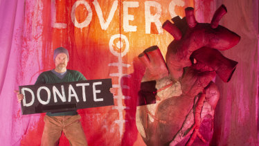 Snuff Puppets artistic director Andy Freer with a heart 'puppet' launches a fundraising campaign