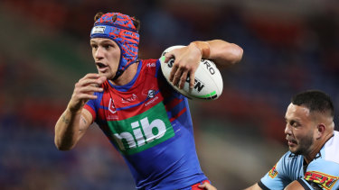 Kalyn Ponga scored a hat-trick against the Sharks.