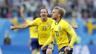 Breaking the deadlock: Emil Forsberg celebrates after scoring.