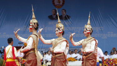 Dancers perform during a campaign rally of Cambodian Prime Minister Hun Sen\'s Cambodian People\'s Party.