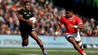 The All Blacks' Sevu Reece surges into the clear against Tonga last weekend.