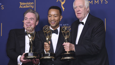 Andrew Lloyd Webber, John Legend, and Tim Rice with their Emmys.