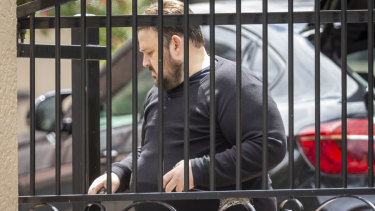 Andrew Triantafyllos is seen outside his home in Strathmore.