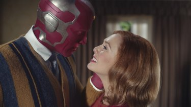 Paul Bettany as Vision and Elizabeth Olsen as Wanda Maximoff in WandaVision.