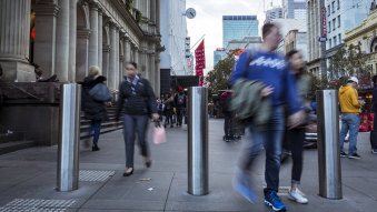 Bollards installed in Bourke Street Mall.