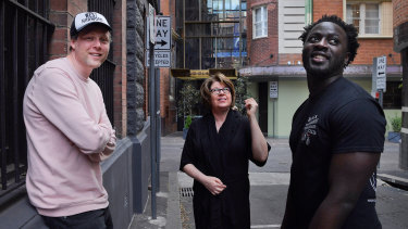 International writers of this year's Sydney Writer Festivals: Max Porter (left), Meg Wolitzer (centre) and Nana Kwame Adjei-Brenyah (right) in Chippendale