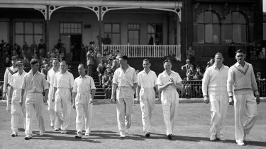 The 1945 Australia Services team take the field at Bramall Lane, Sheffield.