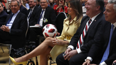 Trump said he would give the ball to his son, Barron.