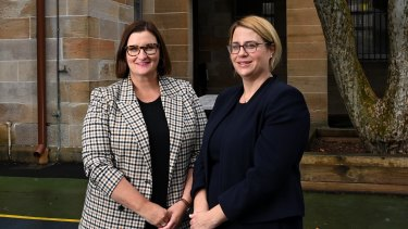 New Department of Education secretary Georgina Harrisson, right, with NSW Education Minister Sarah Mitchell.