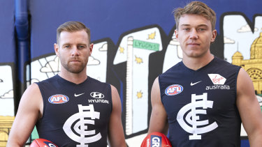'Own it': Blues co-captains Sam Docherty and Patrick Cripps.