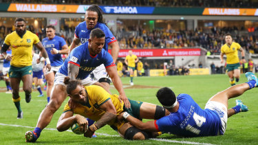 Lukhan Salakaia-Loto gets on the scoresheet for the Wallabies against Samoa last month.