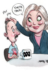 "ABC chair Ita Buttrose said her staff - being creative types - were more ""fragile"" and ""sensitive"". Illustration: John Shakespeare"