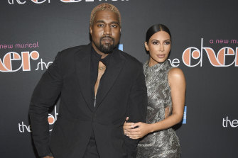 Kanye West and Kim Kardashian on the red carpet in 2018.