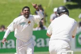 Murali celebrates one of his 800 wickets.