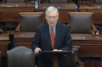 Senate Majority Leader Mitch McConnell speaks on the Senate floor at the US Capitol in Washington on Saturday.