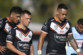Bogy team: Wests Tigers slumped to a seventh loss in their past eight matches against Cronulla on Saturday.