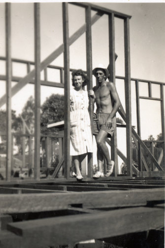 The author's parents, pictured at their Albert Street house under construction.