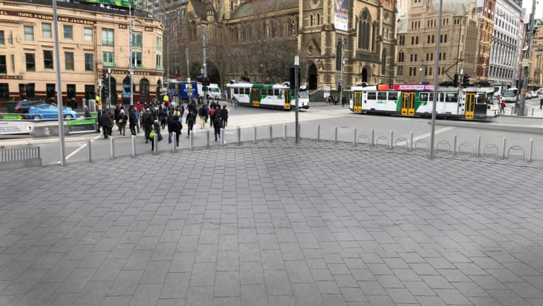 An artist's impression of the new forecourt outside Flinders Street Station once permanent bollards go in.
