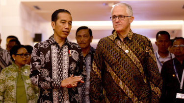 Jokowi and then prime minister Malcolm Turnbull in 2018.