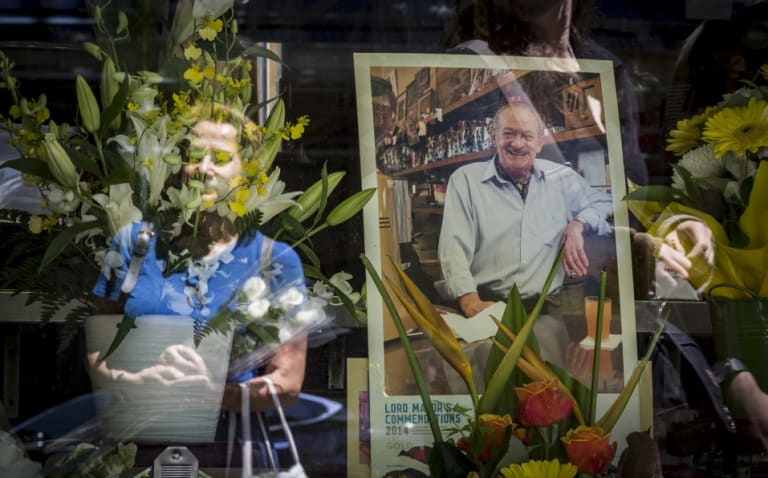 Mourners pay their respects to the co-owner of Pellegrini's, Sisto Malaspina