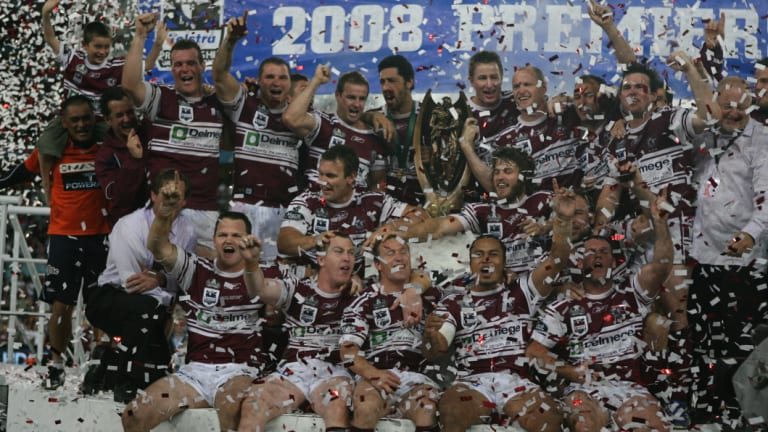 Halcyon days: Manly's premiership-winning team of 2008, coached by Hasler.